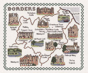 Borders Map Cross Stitch Kit by Classic Embroidery