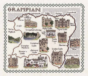 Grampian Map Cross Stitch Kit by Classic Embroidery