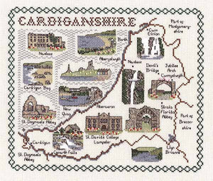 Cardiganshire Map Cross Stitch Kit by Classic Embroidery