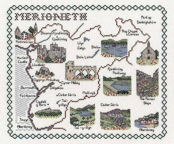Merioneth Map Cross Stitch Kit by Classic Embroidery