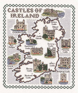 Castles of Ireland Map Cross Stitch Kit by Classic Embroidery