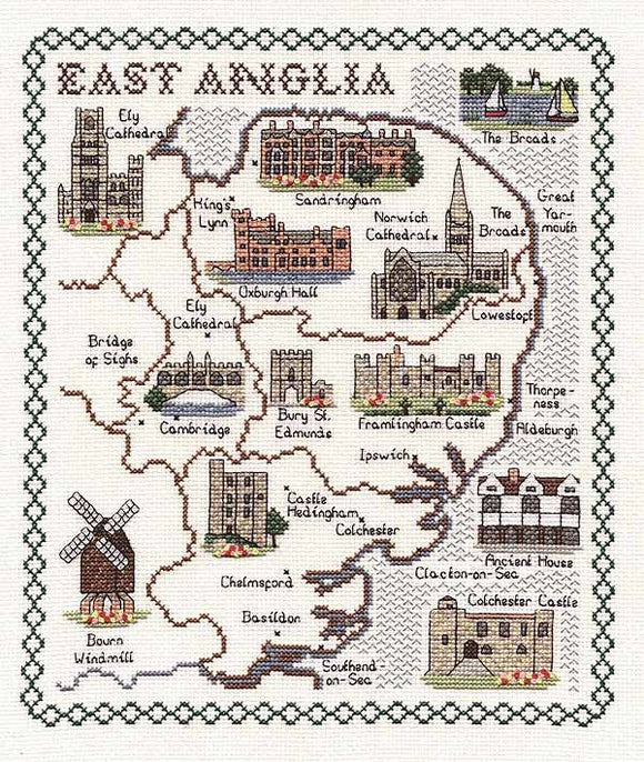 East Anglia Map Cross Stitch Kit by Classic Embroidery