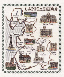 Lancashire Map Cross Stitch Kit by Classic Embroidery