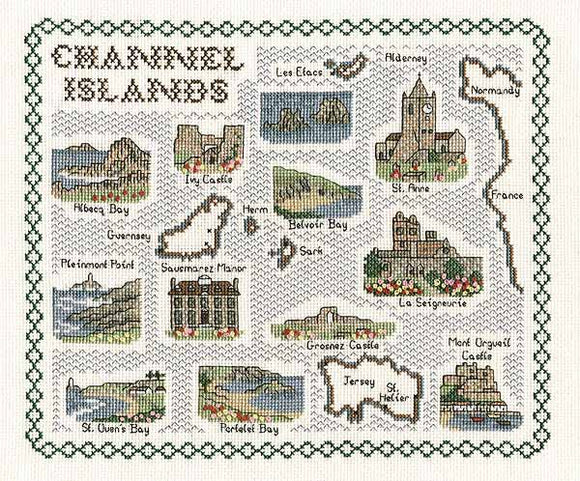 The Channel Islands Map Cross Stitch Kit by Classic Embroidery