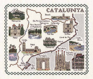 Catalunya Map Cross Stitch Kit by Classic Embroidery