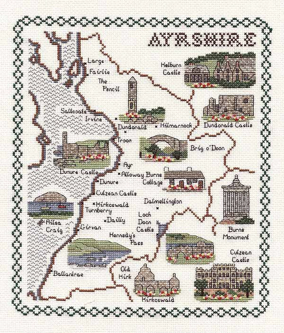 Ayrshire Map Cross Stitch Kit by Classic Embroidery