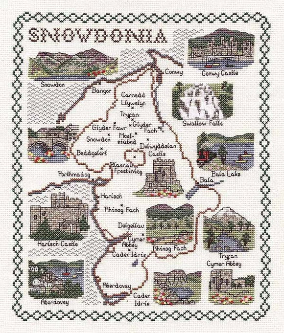 Snowdonia Map Cross Stitch Kit by Classic Embroidery