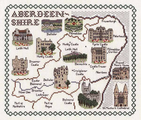 Aberdeenshire Map Cross Stitch Kit by Classic Embroidery