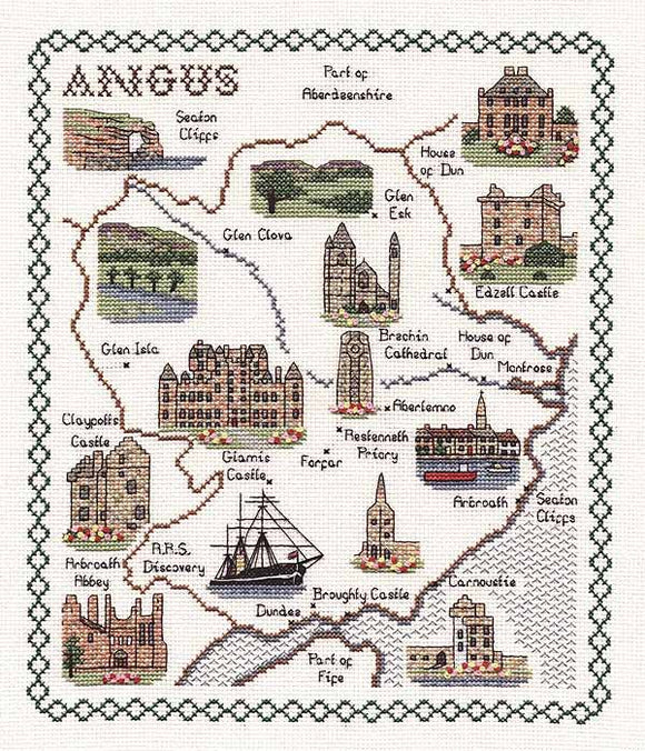 Angus Map Cross Stitch Kit by Classic Embroidery