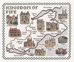 The Kingdom of Fife Map Cross Stitch Kit by Classic Embroidery