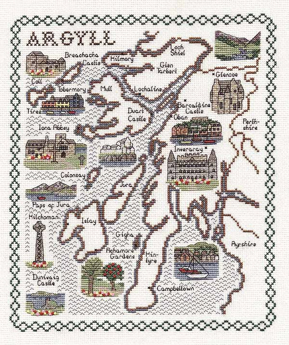 Argyll Map Cross Stitch Kit by Classic Embroidery