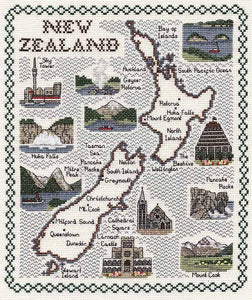 New Zealand Map Cross Stitch Kit by Classic Embroidery