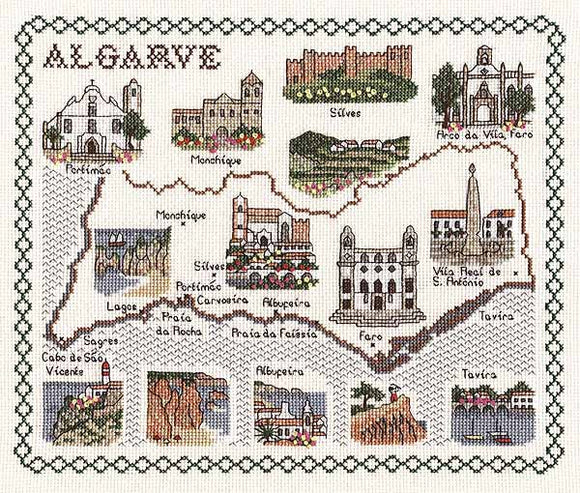 Algarve Map Cross Stitch Kit by Classic Embroidery