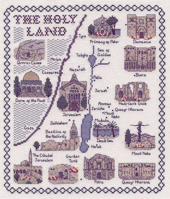 The Holy Land Map Cross Stitch Kit by Classic Embroidery
