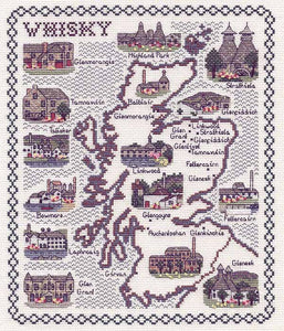 Whisky Map Cross Stitch Kit by Classic Embroidery