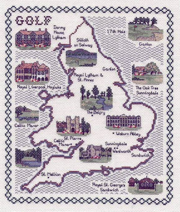 Golf in England and Wales Map Cross Stitch Kit by Classic Embroidery