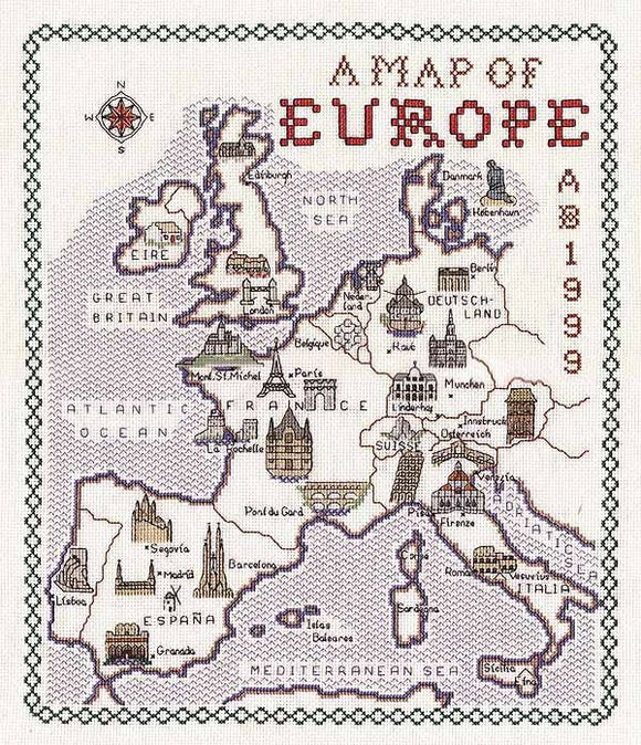 Europe Map Cross Stitch Kit by Classic Embroidery