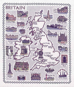 Britain Map Cross Stitch Kit by Classic Embroidery