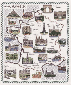 France Map Cross Stitch Kit by Classic Embroidery