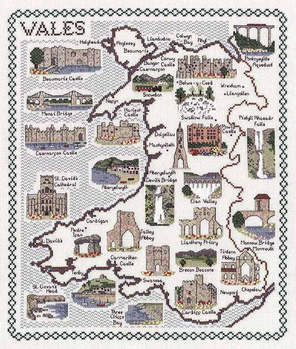 Wales Map Cross Stitch Kit by Classic Embroidery