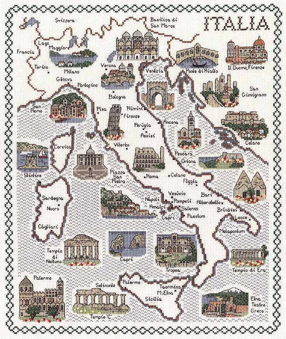 Italy Map Cross Stitch Kit by Classic Embroidery