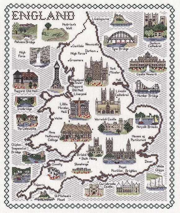 England Map Cross Stitch Kit by Classic Embroidery