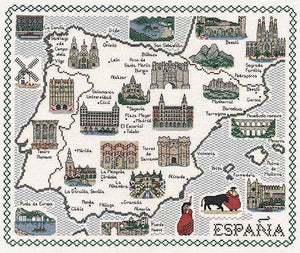 Spain Map Cross Stitch Kit by Classic Embroidery
