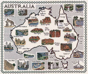 Australia Map Cross Stitch Kit by Classic Embroidery
