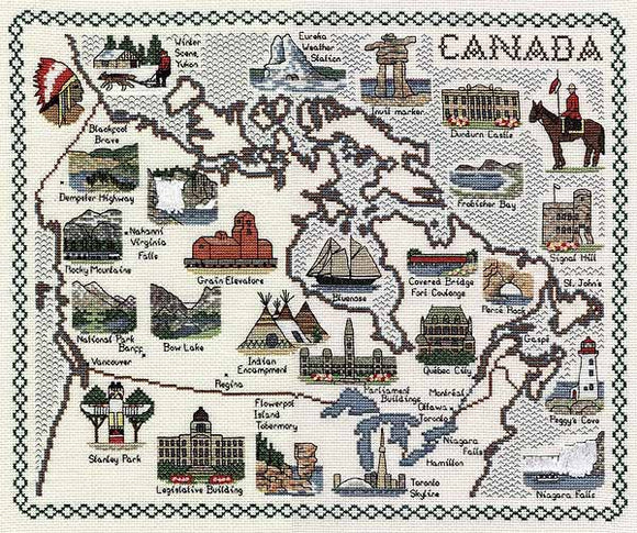 Canada Map Cross Stitch Kit by Classic Embroidery