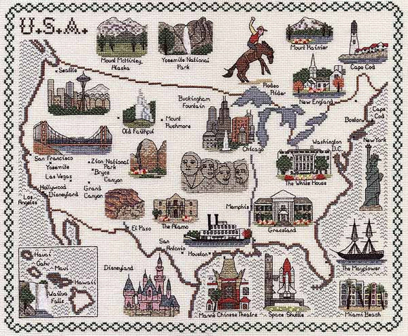 America Map Cross Stitch Kit by Classic Embroidery