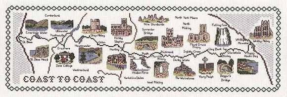 Coast to Coast Map Cross Stitch Kit by Classic Embroidery