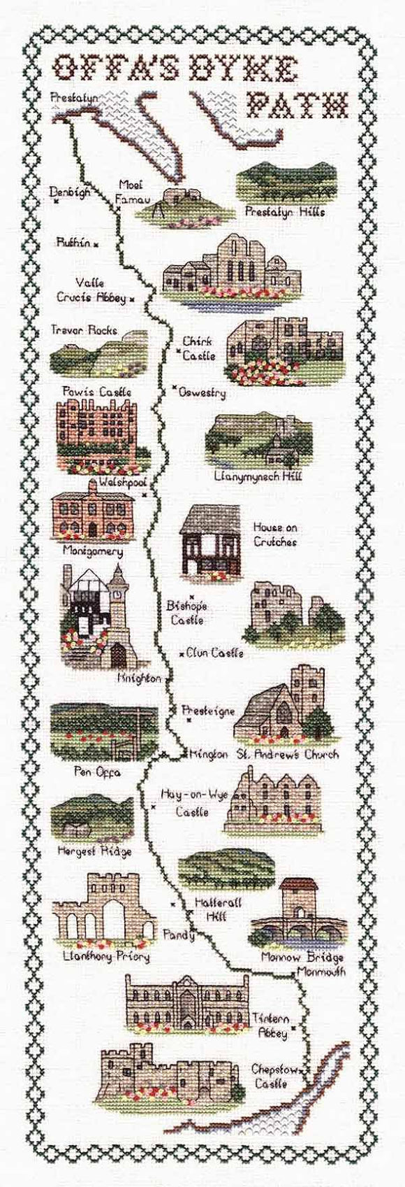 Offas Dyke Path Map Cross Stitch Kit by Classic Embroidery