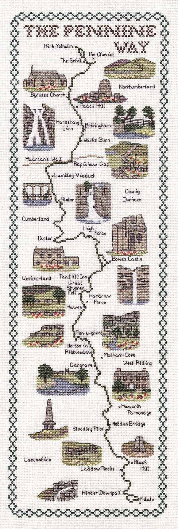 Pennine Way Map Cross Stitch Kit by Classic Embroidery