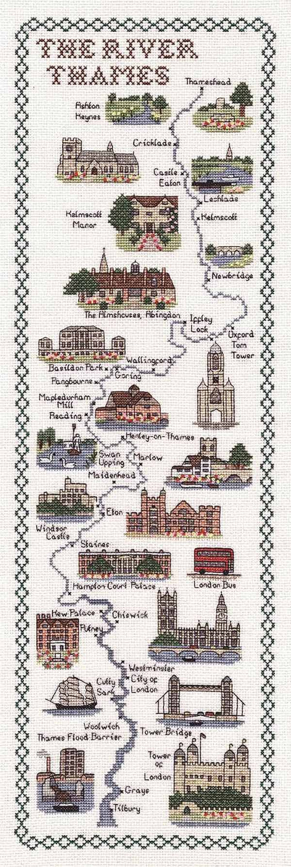 River Thames Map Cross Stitch Kit by Classic Embroidery