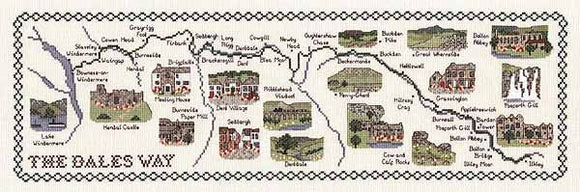 The Dales Way Map Cross Stitch Kit by Classic Embroidery