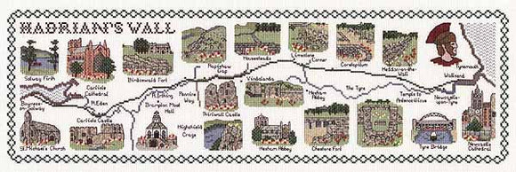 Hadrians Wall Map Cross Stitch Kit by Classic Embroidery