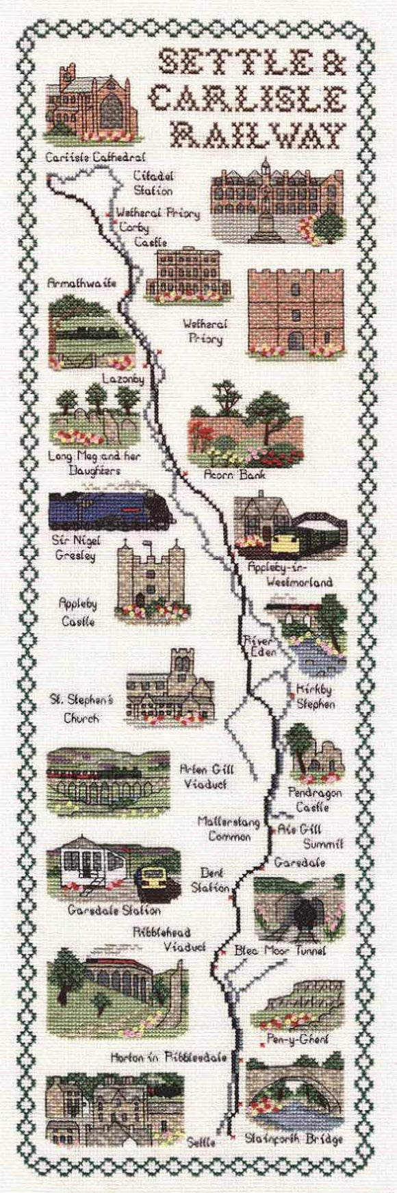 Settle and Carlisle Railway Map Cross Stitch Kit by Classic Embroidery
