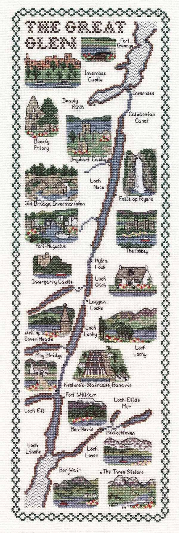 The Great Glen Map Cross Stitch Kit by Classic Embroidery