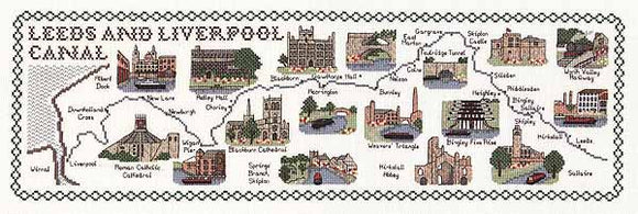 Leeds and Liverpool Canal Map Cross Stitch Kit by Classic Embroidery
