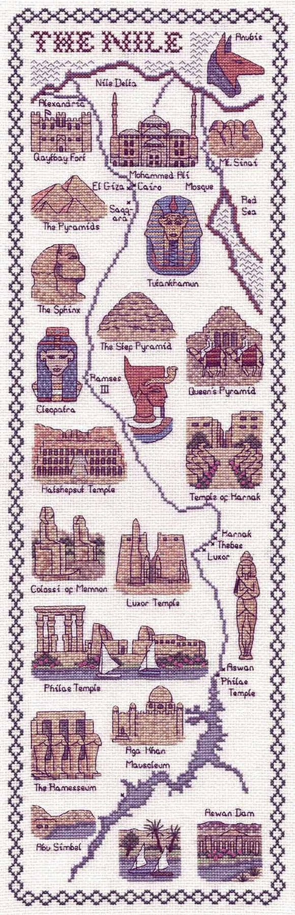 The Nile Map Cross Stitch Kit by Classic Embroidery