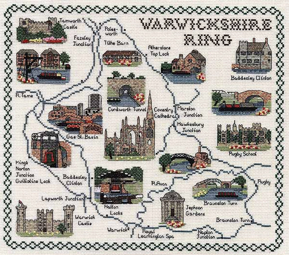 Warwickshire Ring Map Cross Stitch Kit by Classic Embroidery