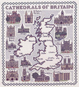 Cathedrals of Britain Map Cross Stitch Kit by Classic Embroidery