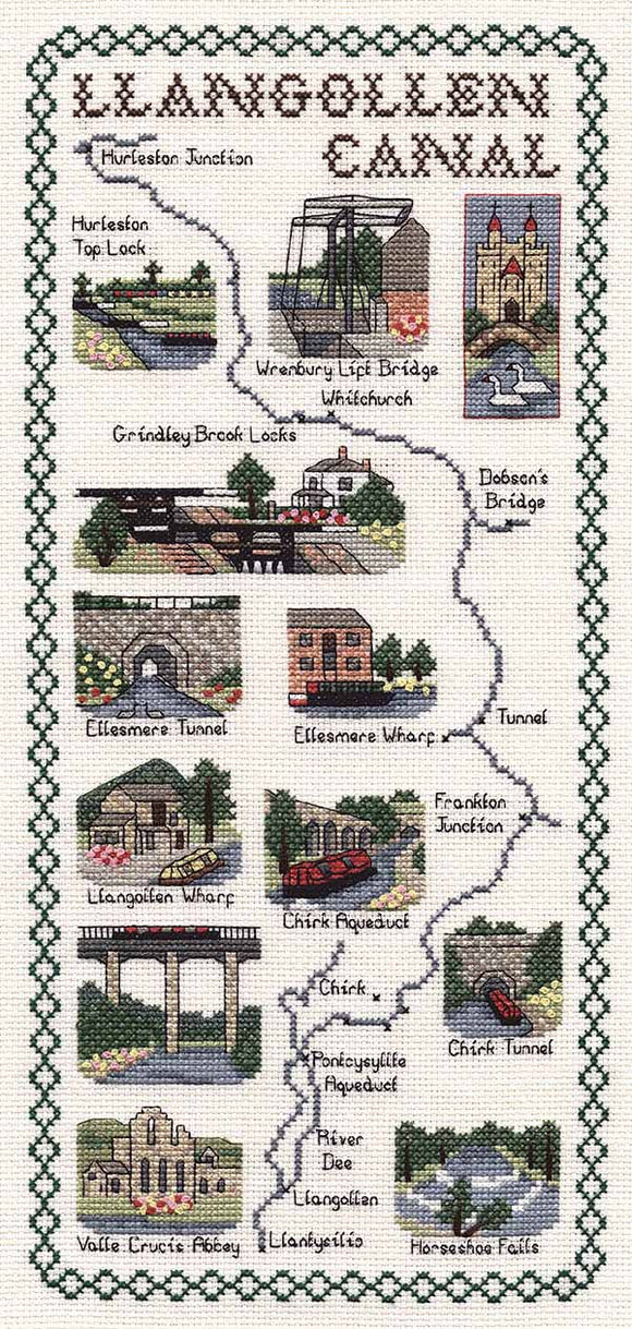 Llangollen Canal Map Cross Stitch Kit by Classic Embroidery