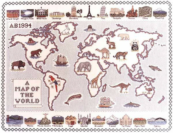 Map of the World Cross Stitch Kit by Classic Embroidery