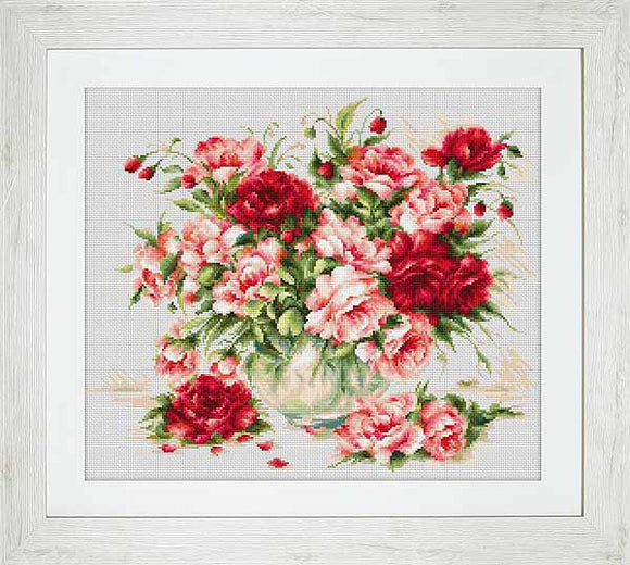Peonies Cross Stitch Kit by Luca S