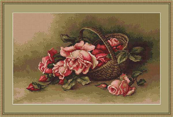 Basket with Roses Cross Stitch Kit by Luca S