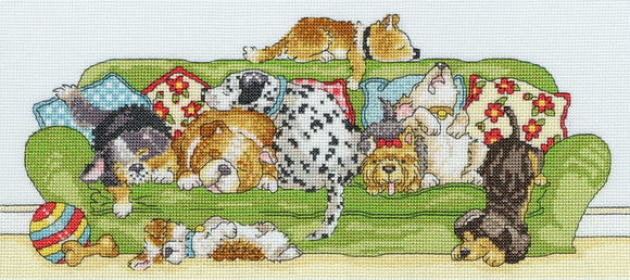 Lazy Dogs Cross Stitch Kit By Bothy Threads