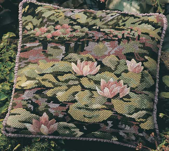 Waterlilies Needlepoint Cushion Kit by Glorafilia
