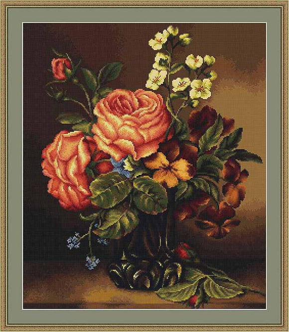 Vase of Roses and Flowers Cross Stitch Kit by Luca S