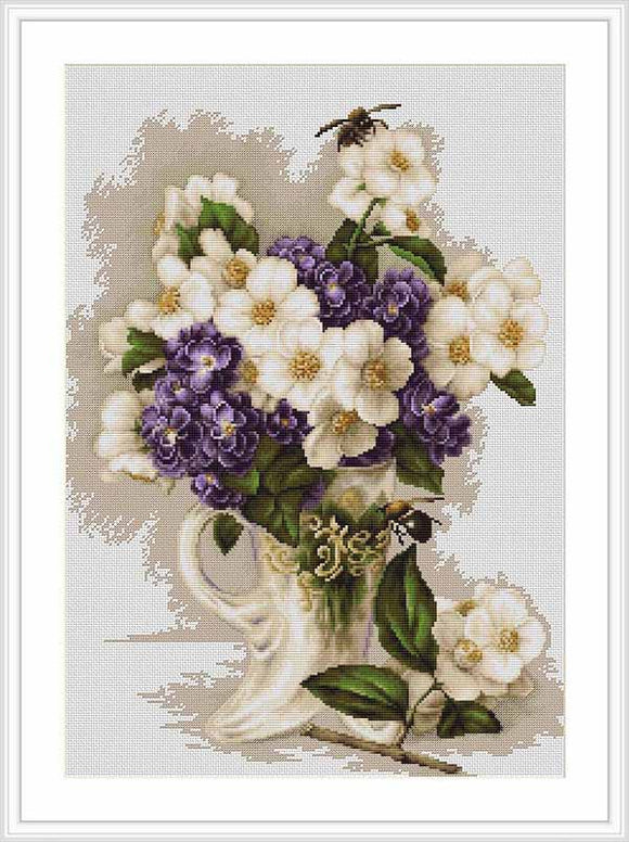 Vase with Jasmine Cross Stitch Kit by Luca S
